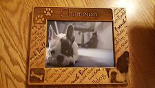 "New in Packaging Champion French Bulldog Wood Picture Frame Holds 5"" x 7"""
