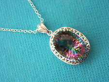 """925 Sterling Silver Pendant With Natural Rainbow Topaz With 18"""" Chain  (nk1065)"""