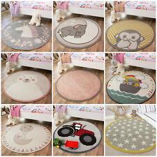 Childrens Bedroom Rugs Round Circle Nursery Rug Soft Easy Clean Kids Playmats