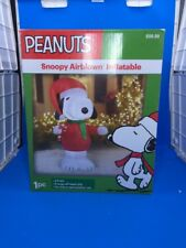 GEMMY Peanuts Snoopy Candy Cane 5ft Air blown Inflatable LED Lights. New In Box.