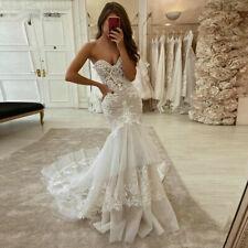 Mermaid Wedding Dresses Lace Appliques Strapless Turkey Bridal Gowns Long Train