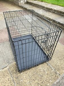 """Easipet Dog Cage Pet Puppy Metal Training Crate Carrier Black Large 36"""""""