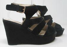 Clarks size 7 (41) D black suede high heel wedge platform sandals