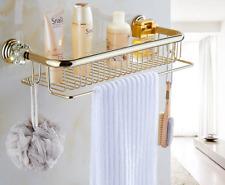 Brass+Crystal Bath Shower Caddy Wire Basket Storage Shelves Single Layer Gold