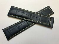 22mm For Tag Heuer Watch Navy Blue White Croco Genuine Leather Strap Band (64)