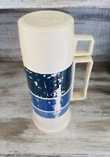 Vintage Plastic Thermos Glass Bottle Blue & White Stripe Retro Camping Hiking