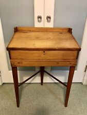 Rare 3-Leg Early American Primitive Slant Flip Top Schoolmaster Writing Desk