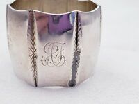 Monogrammed Sterling Silver Napkin Ring with Bright Cut Chrysanthemums 10232