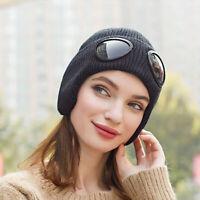 Women Men Winter Hat Warm Knitt Hat with Glasses Ear Muff Skullies Beanies