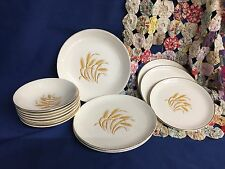 Vintage 13 Pc Set of Golden Wheat 22 KT Gold Homer Laughlin 5 Wheat Stalks