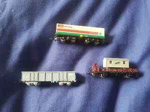 Marklin Mini-Club unboxed Z Gauge wagons - Spar / SBB Eaos / works office