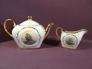 VINTAGE SUDLOWS TEAPOT AND MILK JUG, TALL SHIPS MOTIF WITH BLUE DOTS