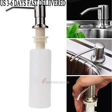Kitchen Bathroom Sink Soap Lotion Dispenser - Stainless Steel Head ABS Bottle