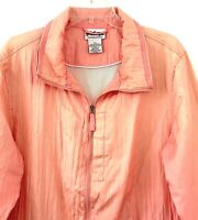 National Women's Windbreaker Jacket 1X Nylon Zip Detachable Hood Pockets Orange