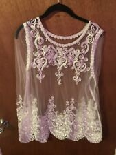 Unbranded Mesh See Through White Embroidered Top XXL New $250