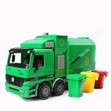 Garbage Truck Sanitation Toy Car Model w 3 Trash Cans, Simulation Vehicle, Kids