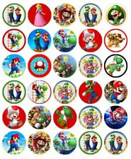 "30 SUPER MARIO 1.5"" (35mm) EDIBLE WAFER PAPER CUPCAKE TOPPERS #"