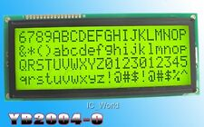 2004 LCD Display Module 20x4 Big Character 5V with Backlight Yellow Green Screen