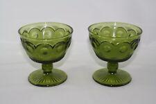"Set of 2 Vintage Green Sherbet Glasses Cups 3 5/8"" Tall 3 1/2"" Diameter"