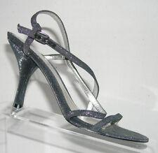 Nine West 'Bakanar' silver sparkle evening buckle strap sandals womens heel 6.5M
