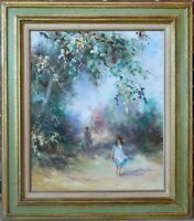 VINTAGE ORIGINAL OIL PAINTING GARDEN TREES LANDSCAPE WITH GIRL IMPRESSIONISM