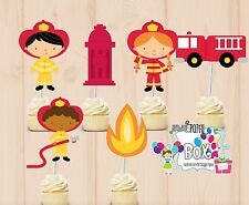 Firefighter Cupcake Toppers - 24 Pc firemen party supplies