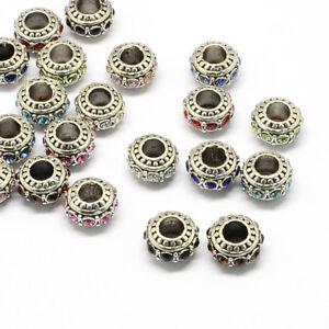 50 x Alloy Rhinestone European Rondelle Large Hole Beads Craft 11x7mm, Hole: 5mm