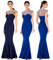 Goddiva Embellished Diamante Pearl Fishtail Evening Maxi Dress Prom Bridesmaid