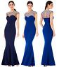 Goddiva Embellished Diamante Pearl Fishtail Evening Maxi Dress Prom Bridesmaid