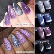 LEMOOC Reflective Cat Magnetic UV Gel Polish Glitter Soak Off Nail Gel Base Top