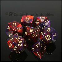 NEW 7pc Set Purple Red Gemini Dice in Box RPG Game D&D 7 piece Chessex D20 +