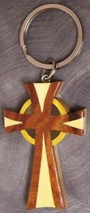Intarsia Solid Wood Key Ring Religious Celtic Cross NEW