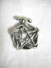 2 SNAKE SERPENTS WRAP PENTACLE STAR 2 SIDE PEWTER PENDANT ON ADJ CORD NECKLACE