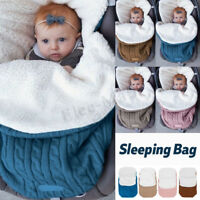 Knit Newborn Baby Sleeping Bag Blanket Sack Stroller Wrap Swaddle FootMuffs