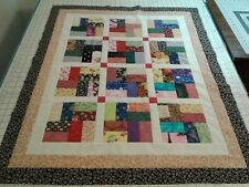 Scrappy Rail Fence Block Quilt Top Unfinished