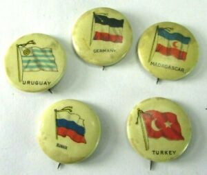 Antique Celluloid Country Flags Pinback Pin Button Sweet Caporal Cigarette Lot 5