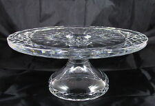 Old Waterford Cut Crystal Glass Alana Pedestal Footed Cake Plate Stand Signed