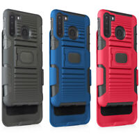 Magnet Case for Samsung Galaxy A21 Hybrid Defender Holster Belt Clip + Glass