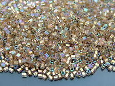 250g 994 Gold Lined Crystal Rainbow Toho Triangle Seed Beads 11/0 2mm WHOLESALE