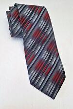 Platinum Design Tie Black Red Silver Striped 100% Silk Necktie L60 W3.75