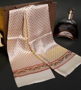 100% Mulberry Silk Satin Scarf men women neckerchief Shawl Wrap beige MY128-29