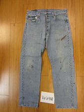 used Levis 501 destroyed feathered grunge USA jean tag 36x30 meas 33x29.5 16298F