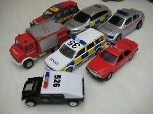JOB LOT OF 7 UNBRANDED TOY CARS / EMERGENCY VEHICLES