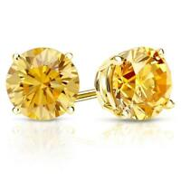 2 Ct Round Cut Yellow Diamond Earrings in Solid 14k Yellow Gold Screw Back Studs