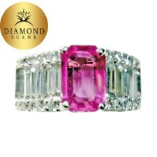 PINK SAPPHIRE EMERALD SHAPE 8.60X5.90X3.22MM SIDE DIAMOND