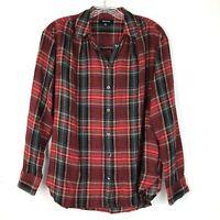 Madewell womens Shirt Red Plaid size XS Button Up Tartan Boyfriend Wool Top