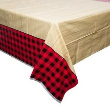 PLAID LUMBERJACK PLASTIC TABLE COVER ~ Birthday Party Supplies Decoration Cloth