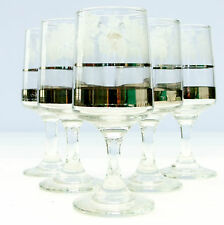 Vintage Retro 1960s Liqueur Sherry Glasses Set 5 Grapevine