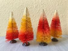 "Bottle Brush Halloween Putz ~ 4"" Candy Corn Ombre Sisal Tree Set of 4 Trees"