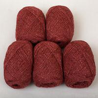 *250g*PURE BRITISH WOOL+SILK* 4-Ply.Coral. yarn.knitting.scottish.tweed.pink.red